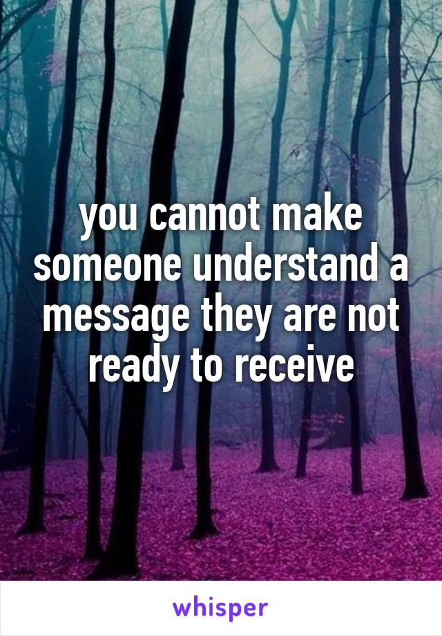 you cannot make someone understand a message they are not ready to receive