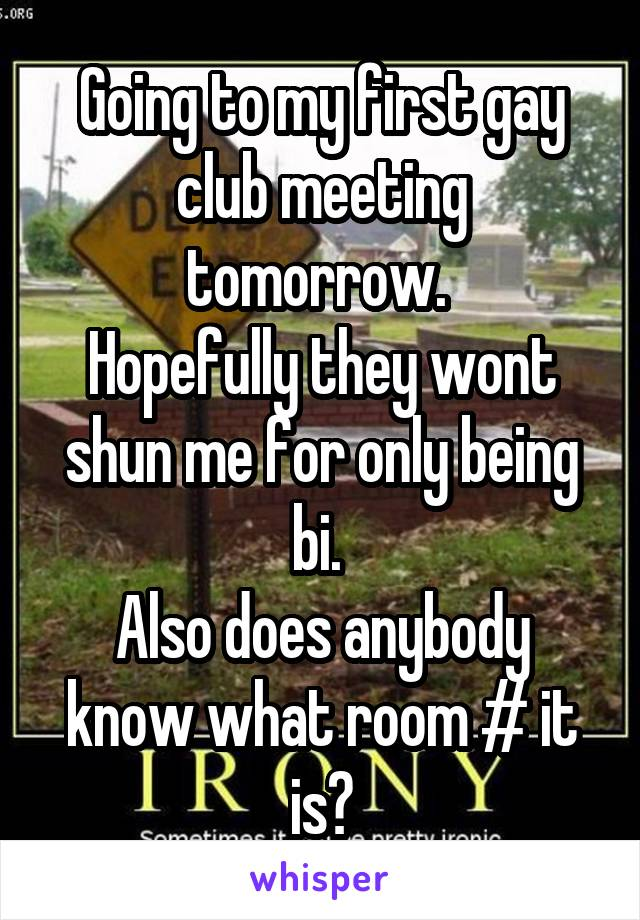 Going to my first gay club meeting tomorrow.  Hopefully they wont shun me for only being bi.  Also does anybody know what room # it is?