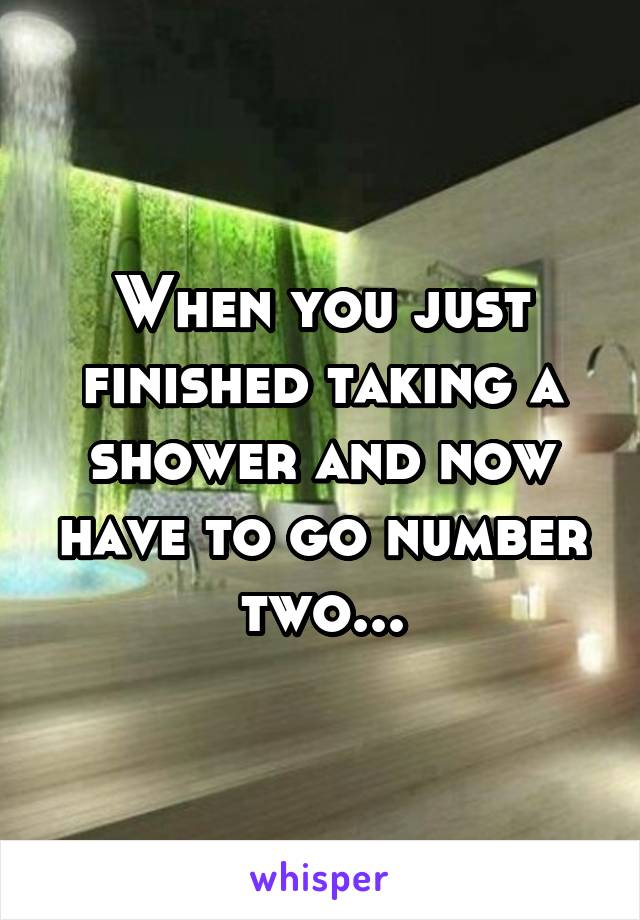 When you just finished taking a shower and now have to go number two...