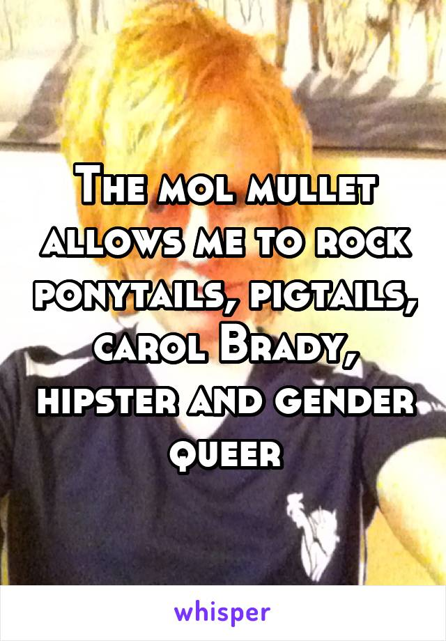 The mol mullet allows me to rock ponytails, pigtails, carol Brady, hipster and gender queer