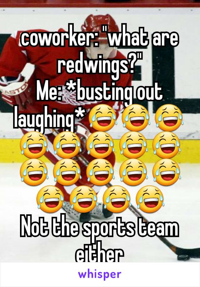 """coworker: """"what are redwings?"""" Me: *busting out laughing*😂😂😂😂😂😂😂😂😂😂😂😂😂😂😂😂😂 Not the sports team either"""