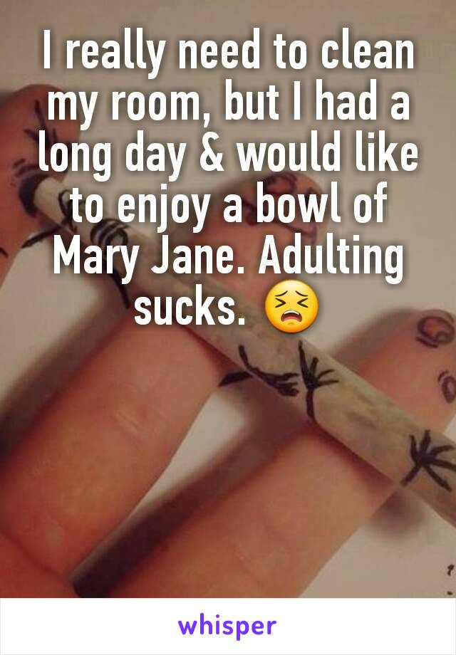 I really need to clean my room, but I had a long day & would like to enjoy a bowl of Mary Jane. Adulting sucks. 😣