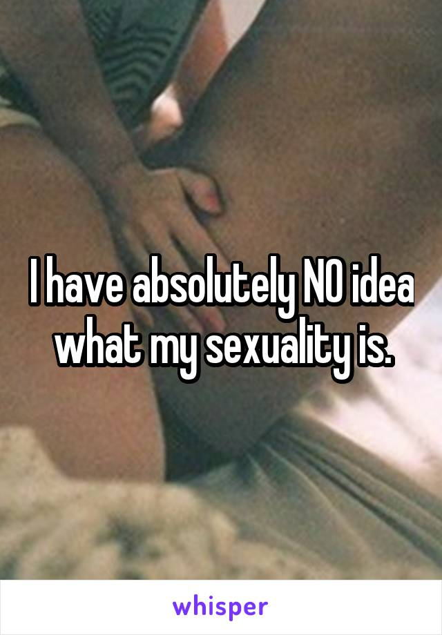 I have absolutely NO idea what my sexuality is.