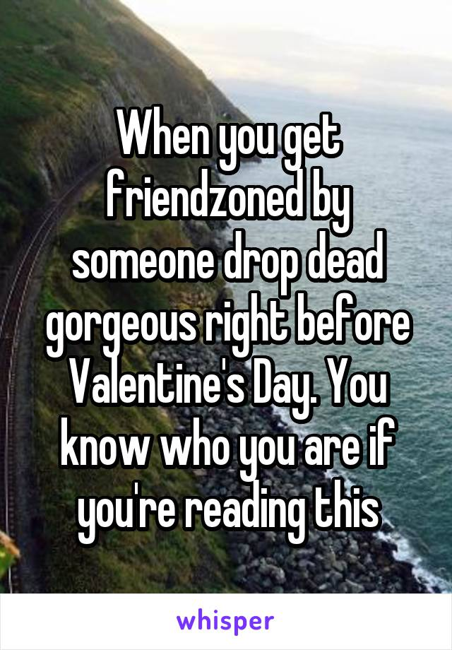 When you get friendzoned by someone drop dead gorgeous right before Valentine's Day. You know who you are if you're reading this