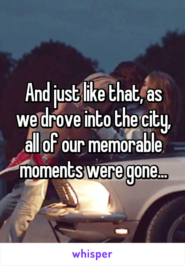 And just like that, as we drove into the city, all of our memorable moments were gone...