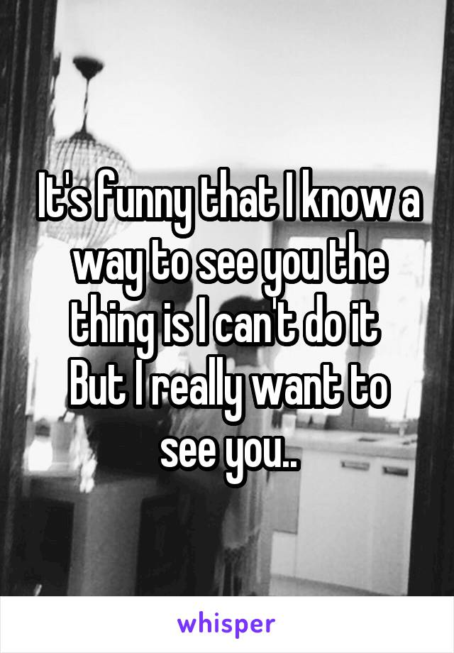 It's funny that I know a way to see you the thing is I can't do it  But I really want to see you..