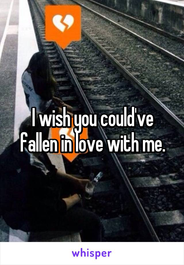 I wish you could've fallen in love with me.