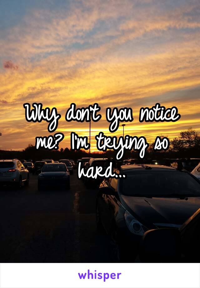 Why don't you notice me? I'm trying so hard...