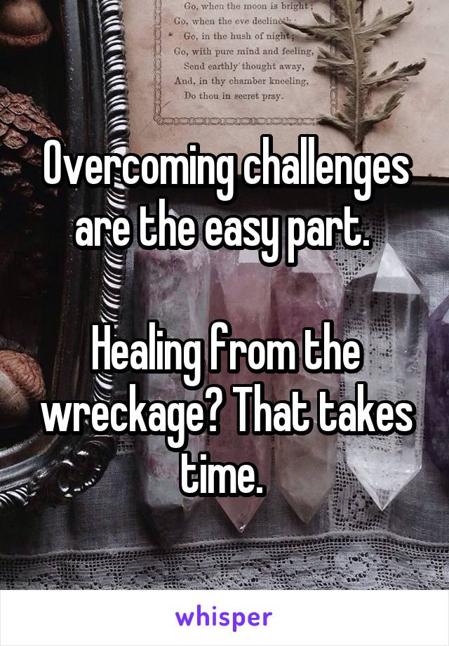 Overcoming challenges are the easy part.   Healing from the wreckage? That takes time.