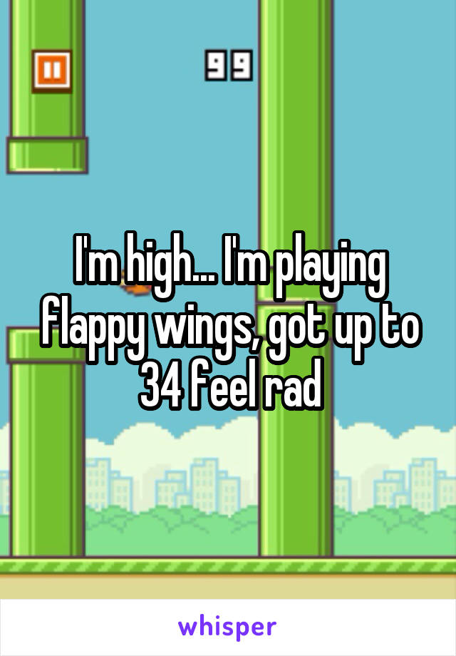I'm high... I'm playing flappy wings, got up to 34 feel rad