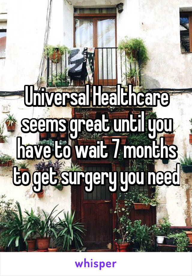 Universal Healthcare seems great until you have to wait 7 months to get surgery you need