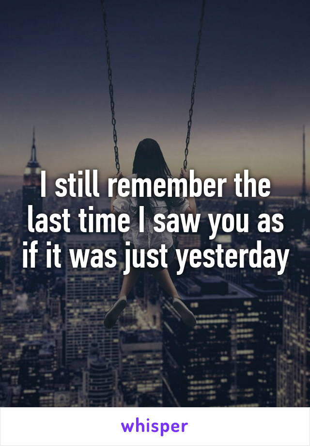 I still remember the last time I saw you as if it was just yesterday