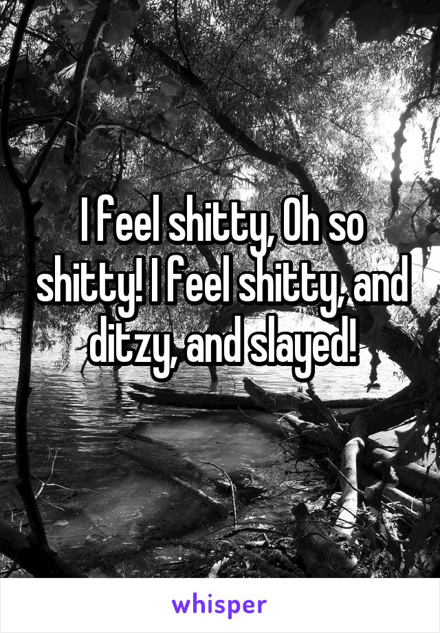 I feel shitty, Oh so shitty! I feel shitty, and ditzy, and slayed!