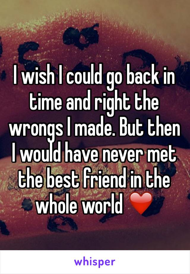 I wish I could go back in time and right the wrongs I made. But then I would have never met the best friend in the whole world ❤️