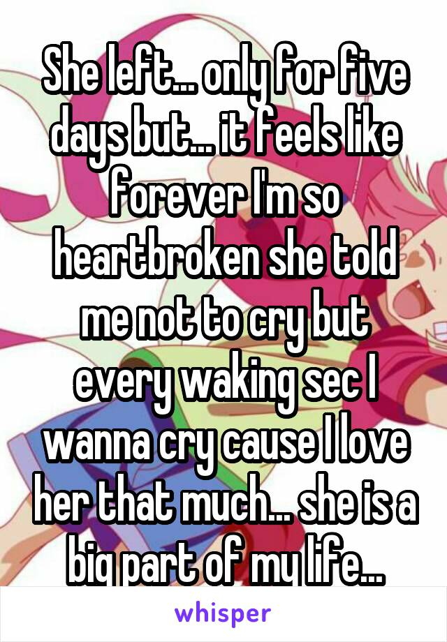 She left... only for five days but... it feels like forever I'm so heartbroken she told me not to cry but every waking sec I wanna cry cause I love her that much... she is a big part of my life...