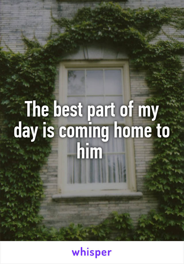 The best part of my day is coming home to him
