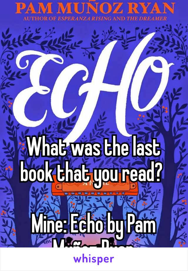 What was the last book that you read?   Mine: Echo by Pam Muñoz Ryan