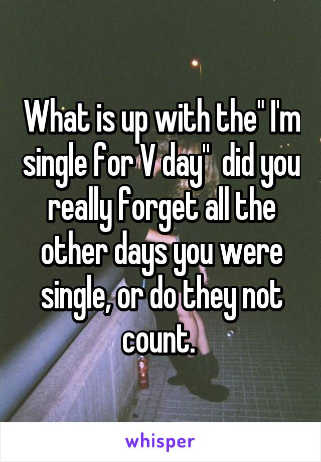 """What is up with the"""" I'm single for V day""""  did you really forget all the other days you were single, or do they not count."""