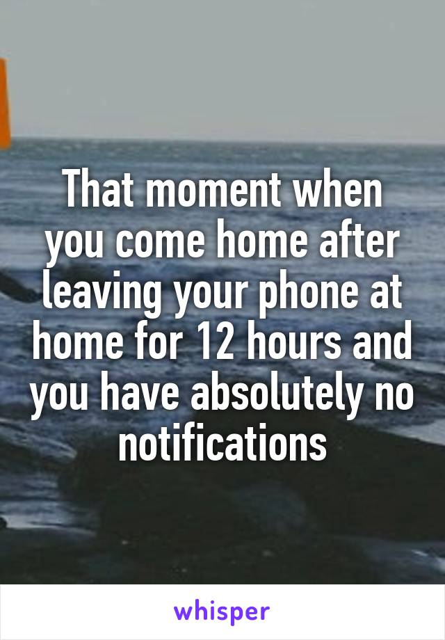 That moment when you come home after leaving your phone at home for 12 hours and you have absolutely no notifications