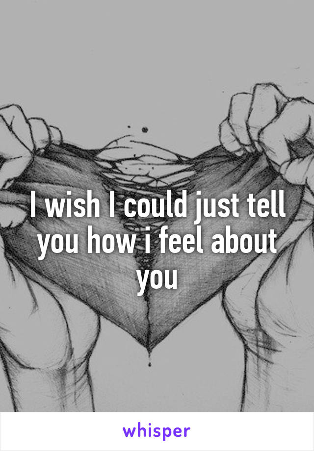 I wish I could just tell you how i feel about you