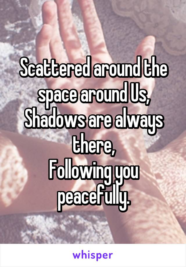 Scattered around the space around Us, Shadows are always there, Following you peacefully.