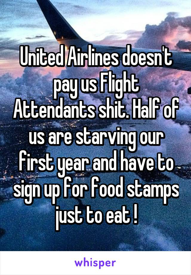 United Airlines doesn't pay us Flight Attendants shit. Half of us are starving our first year and have to sign up for food stamps just to eat !