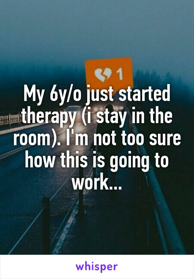 My 6y/o just started therapy (i stay in the room). I'm not too sure how this is going to work...
