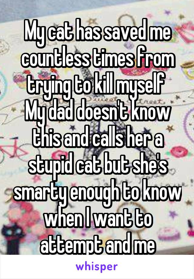 My cat has saved me countless times from trying to kill myself  My dad doesn't know this and calls her a stupid cat but she's smarty enough to know when I want to attempt and me