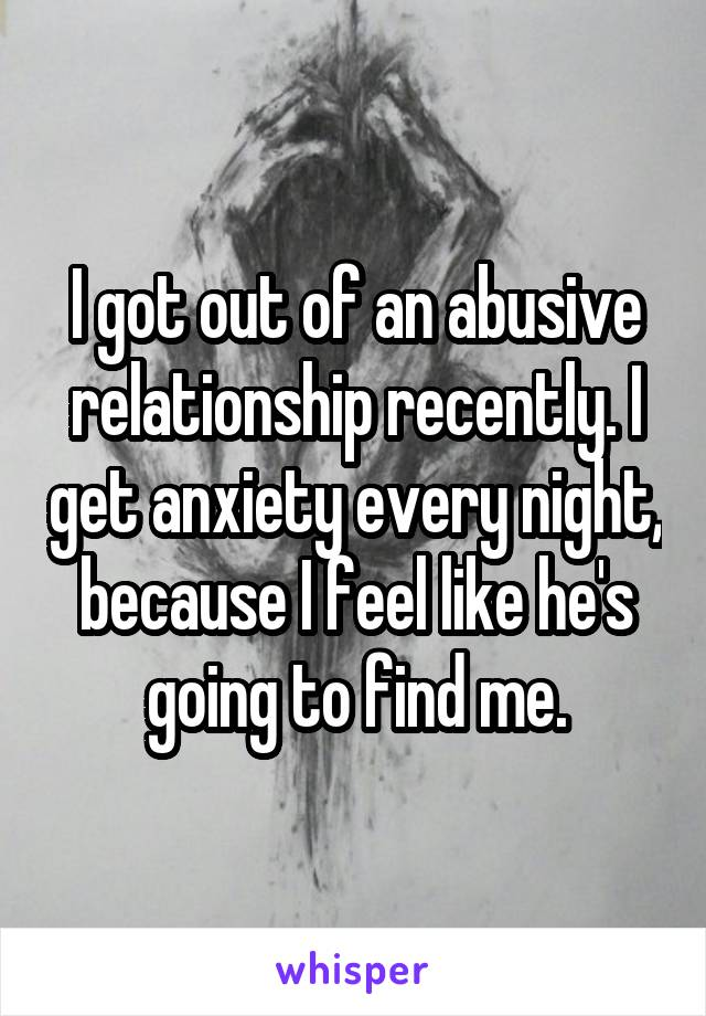 I got out of an abusive relationship recently. I get anxiety every night, because I feel like he's going to find me.
