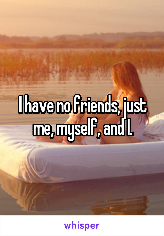 I have no friends, just me, myself, and I.