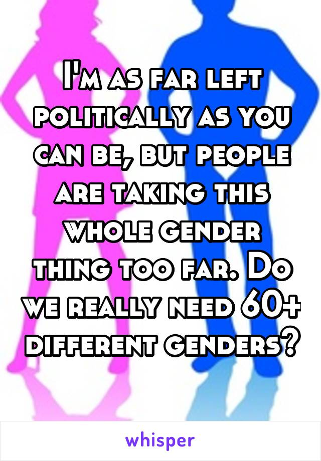 I'm as far left politically as you can be, but people are taking this whole gender thing too far. Do we really need 60+ different genders?