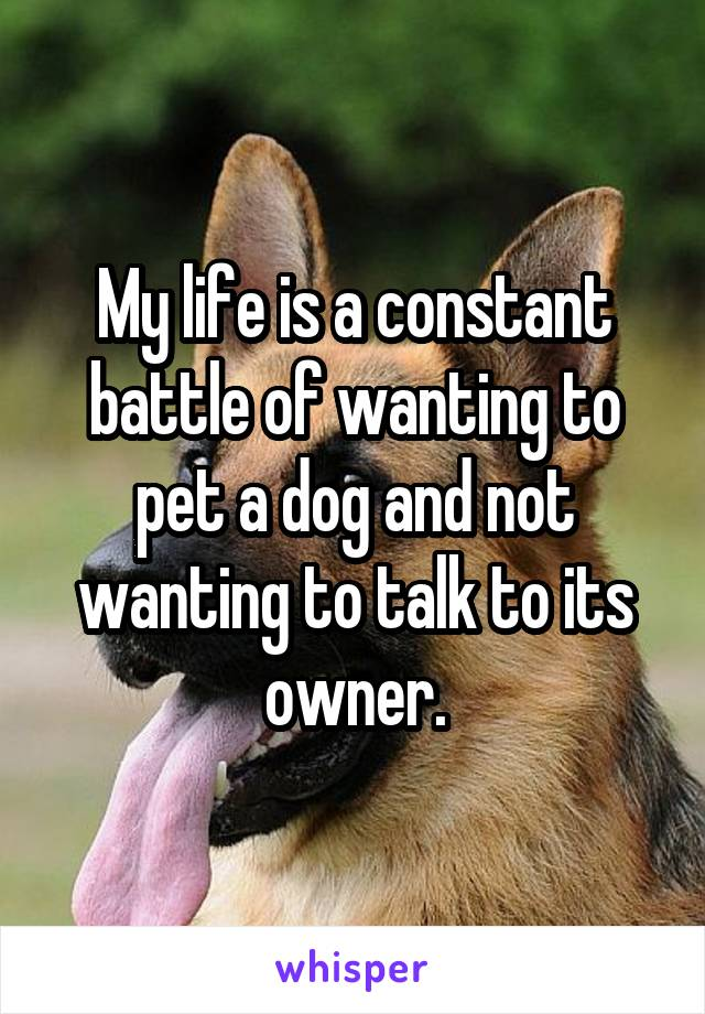 My life is a constant battle of wanting to pet a dog and not wanting to talk to its owner.
