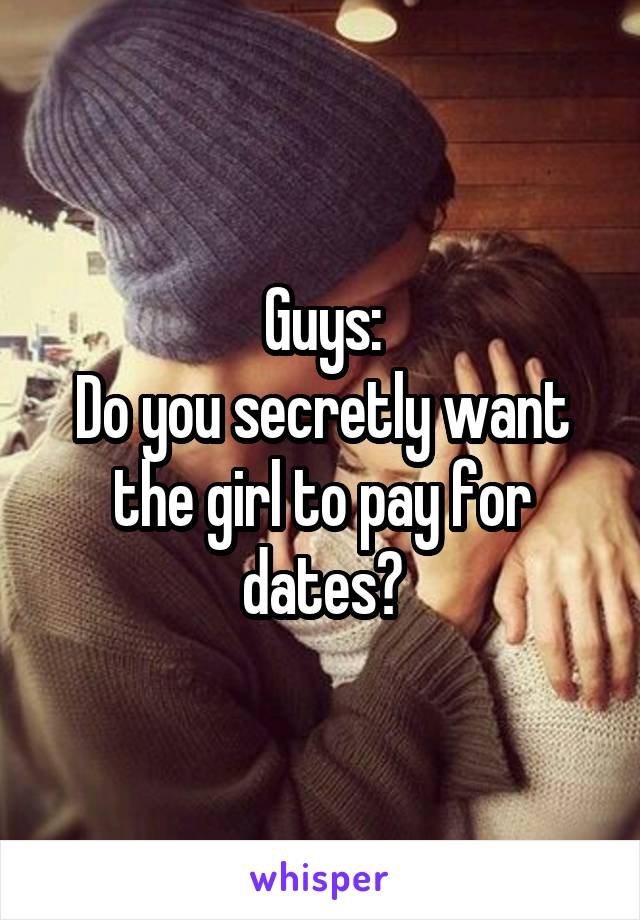 Guys: Do you secretly want the girl to pay for dates?