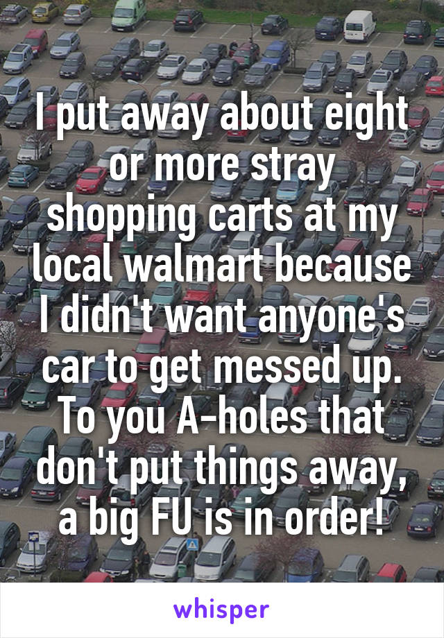 I put away about eight or more stray shopping carts at my local walmart because I didn't want anyone's car to get messed up. To you A-holes that don't put things away, a big FU is in order!