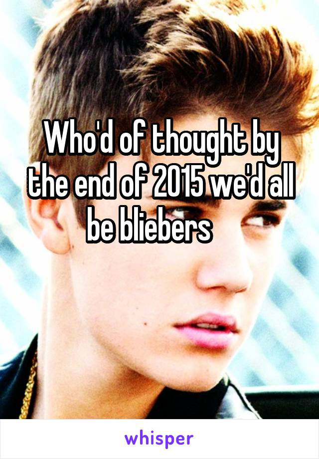 Who'd of thought by the end of 2015 we'd all be bliebers