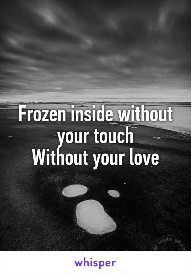 Frozen inside without your touch Without your love
