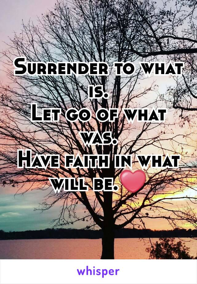 Surrender to what is. Let go of what was. Have faith in what will be.❤
