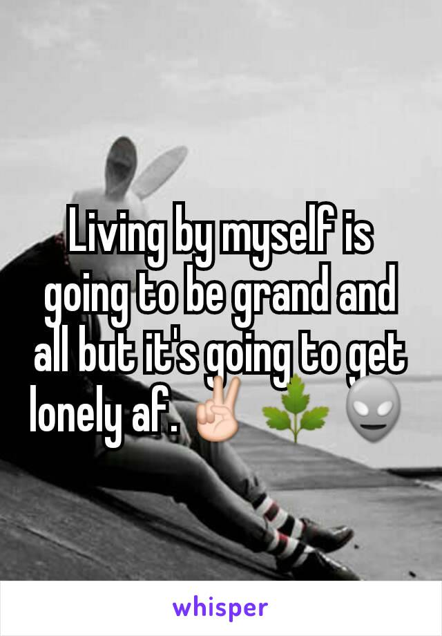Living by myself is going to be grand and all but it's going to get lonely af.✌🌿👽