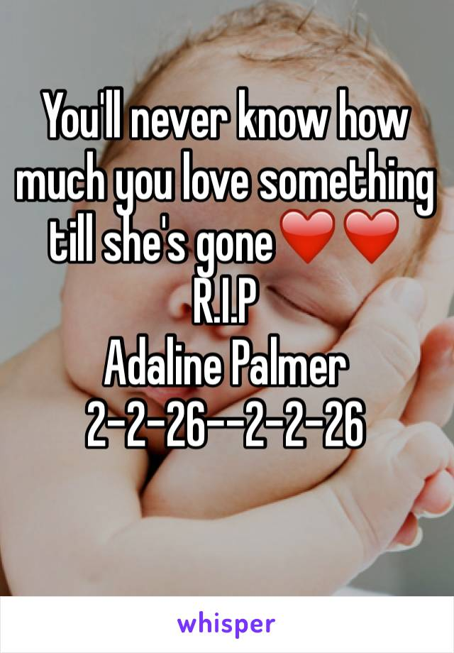 You'll never know how much you love something till she's gone❤️❤️  R.I.P Adaline Palmer 2-2-26--2-2-26