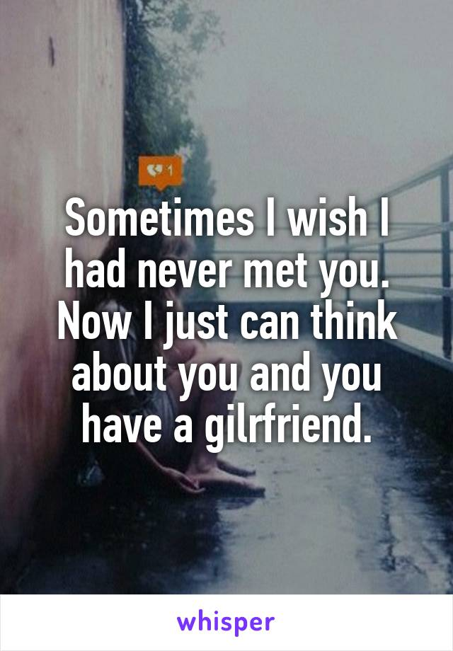 Sometimes I wish I had never met you. Now I just can think about you and you have a gilrfriend.
