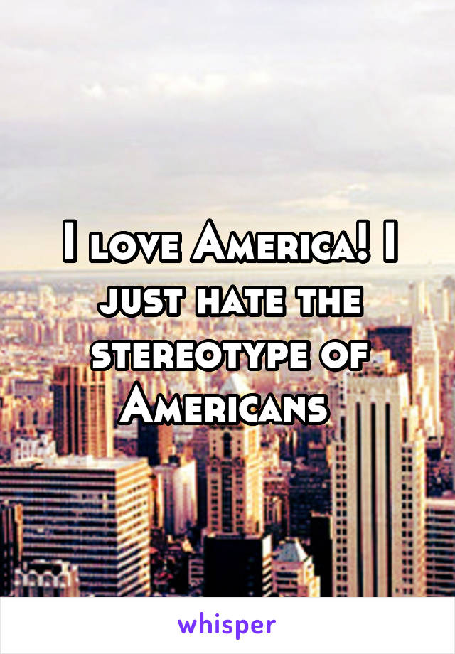 I love America! I just hate the stereotype of Americans