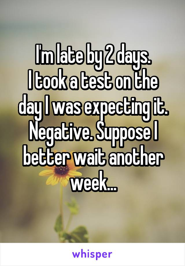 I'm late by 2 days. I took a test on the day I was expecting it. Negative. Suppose I better wait another week...