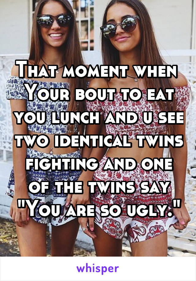"""That moment when  Your bout to eat you lunch and u see two identical twins fighting and one of the twins say """"You are so ugly."""""""