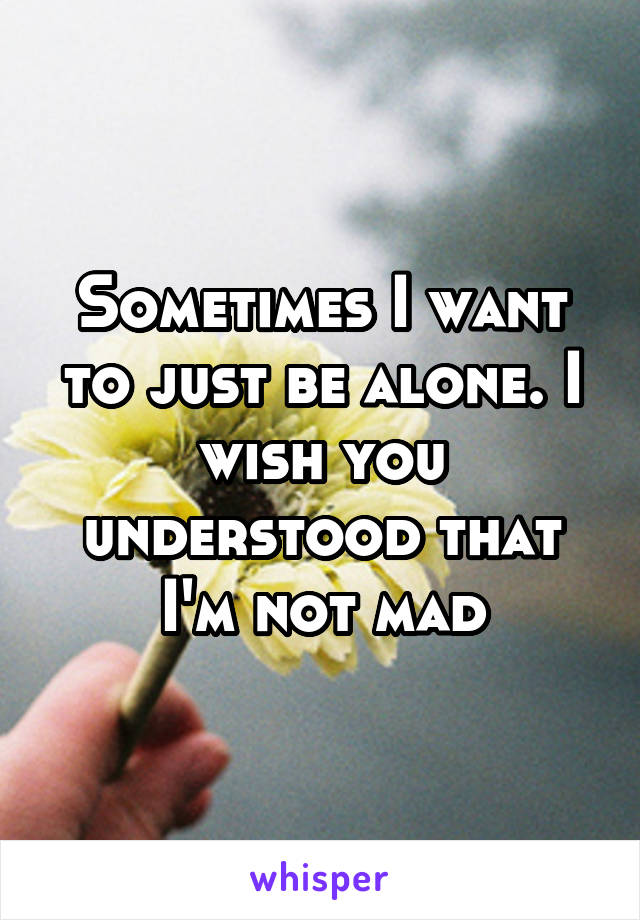Sometimes I want to just be alone. I wish you understood that I'm not mad