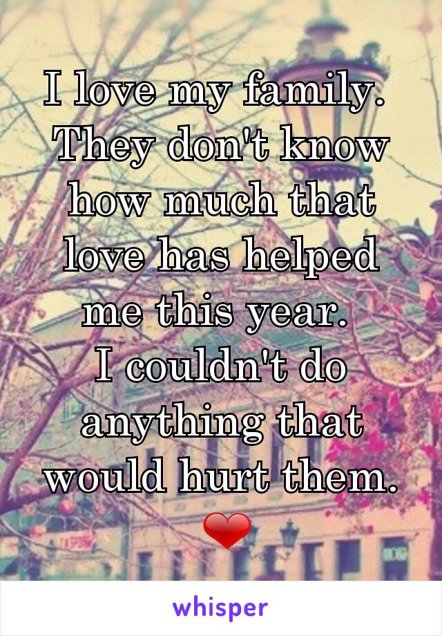 I love my family.  They don't know how much that love has helped me this year.  I couldn't do anything that would hurt them.  ❤