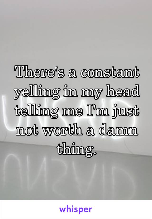 There's a constant yelling in my head telling me I'm just not worth a damn thing.