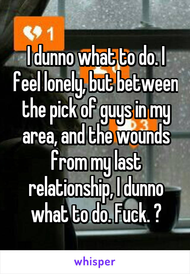 I dunno what to do. I feel lonely, but between the pick of guys in my area, and the wounds from my last relationship, I dunno what to do. Fuck. 😕