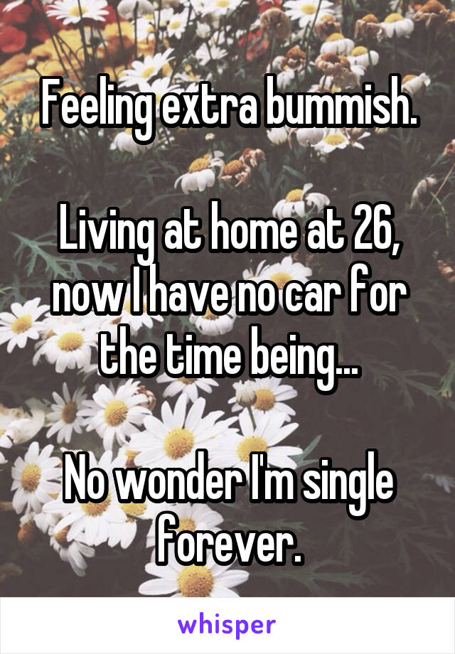 Feeling extra bummish.  Living at home at 26, now I have no car for the time being...  No wonder I'm single forever.