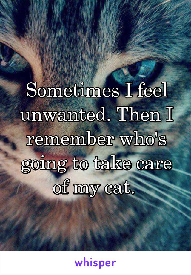Sometimes I feel unwanted. Then I remember who's going to take care of my cat.