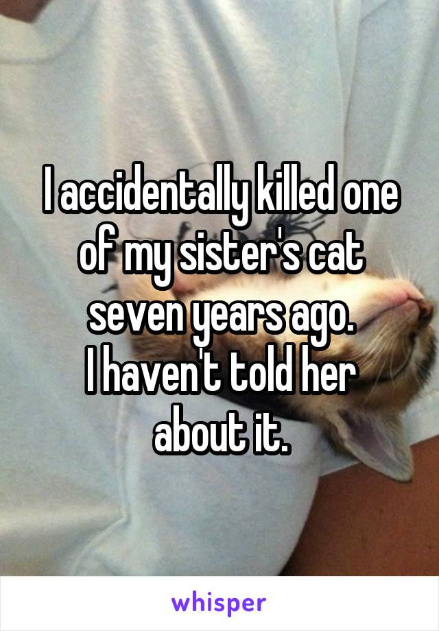 I accidentally killed one of my sister's cat seven years ago. I haven't told her about it.